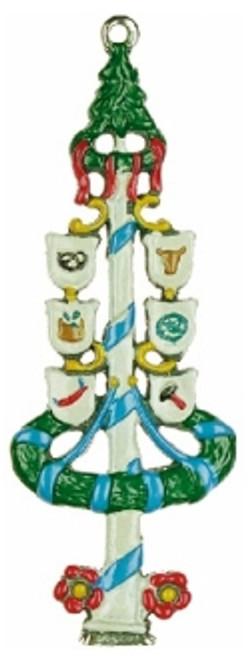 Traditional Pewter German Maypole Christmas Ornament