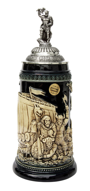 Leif Erikssen Viking Beer Stein Cobalt with Viking Lid