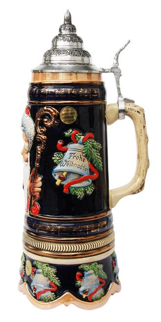 German Beer Stein with Pewter Lid & Music Box