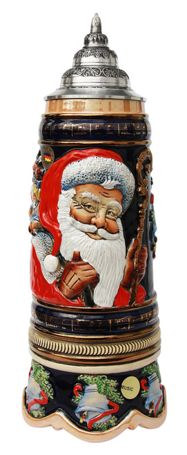 German Beer Stein with Santa on Front