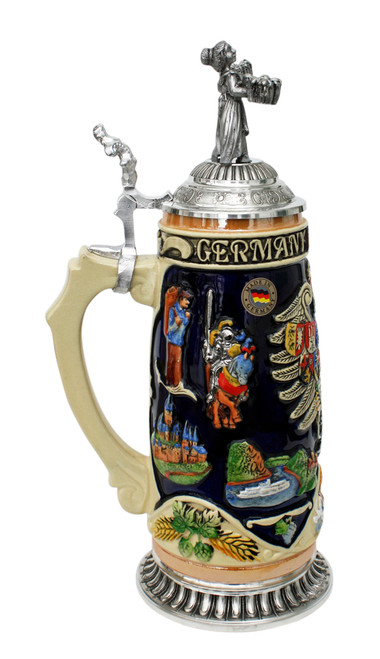 Deutschland Legacy Beer Stein | Beer Maiden Lid and Pewter Base