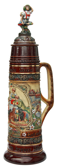 2.9 Feet Tall German Stein Depicts Scene of Family Around a Table