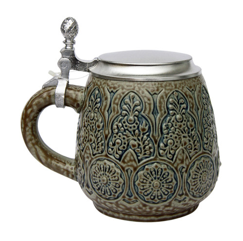 Stylized Plants Traditional Salt Glaze Beer Stein
