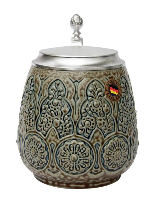 Stylized Plants Traditional Salt Glaze Beer Stein