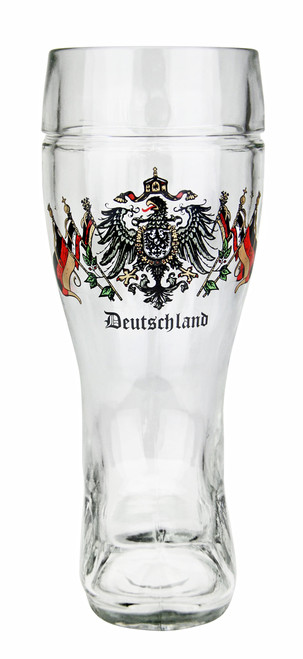 Front View of Glass Beer Boot with Authentic German Crest