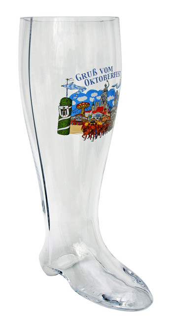 Hofbrauhaus 2 liter glass boot with logo