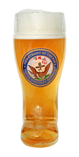 Front of Personalized 1 Liter Beer Boot with US Navy Seal