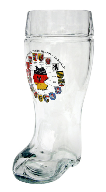 Personalized 1 Liter Beer Boot with German Flags