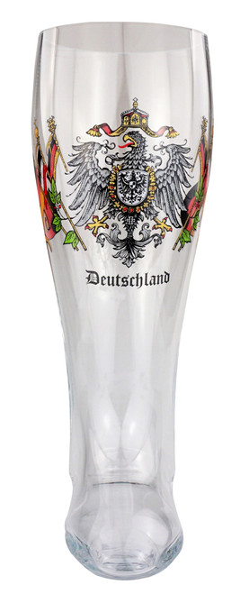 Authentic Glass Beer Boot with Deutschland Crest