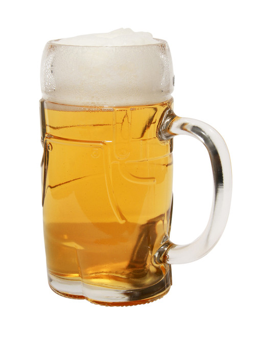 Three Quarter View of Front of Half Liter Glass Molded Lederhosen Beer Mug