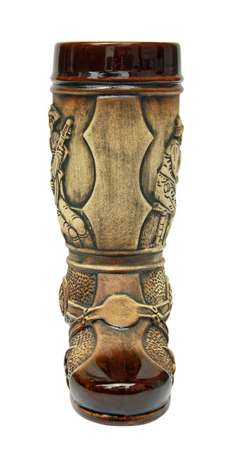 Brown & Cream Colored Ceramic Boot with 3D Spur on Heel