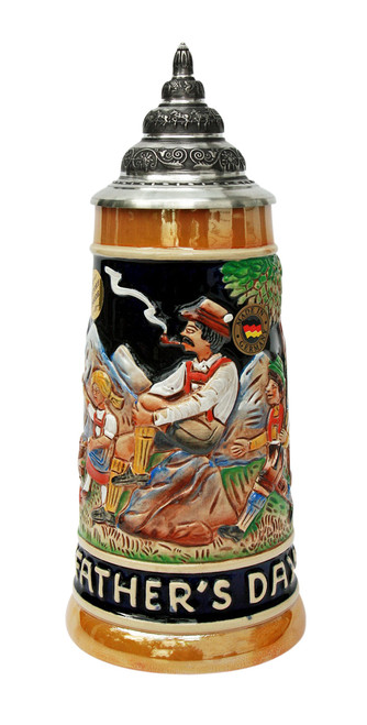 Front View, Traditional German Beer Stein, .5 Liter