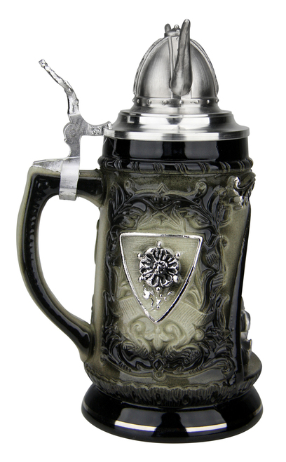 Viking Ship Grotto Beer Stein with Helmet Lid