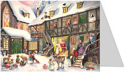 Santa Claus is Coming to Town German Advent Calendar Christmas Card