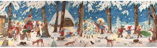 Santa and Elves German Advent Calendar Christmas Card