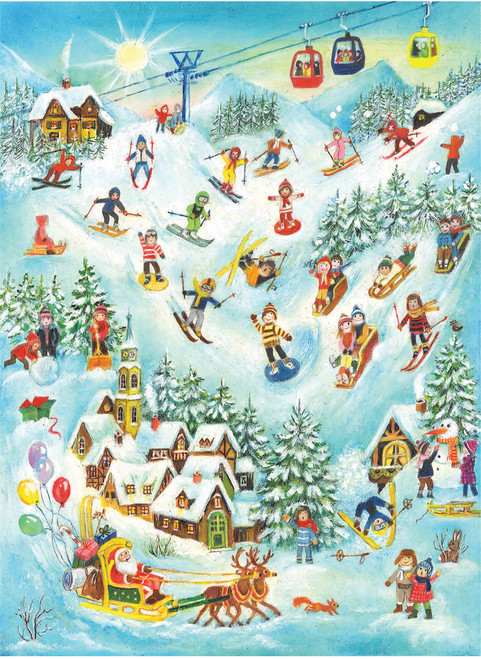 Ski Scene with Santa German Advent Calendar