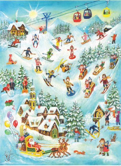 Ski Scene with Santa German Advent Calendar