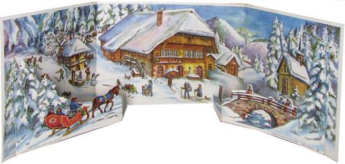 Traditional Christmas German Advent Calendar Alpine Chalet Panorama
