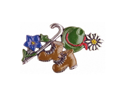 Hiking Alpine Flowers German Pewter Pin
