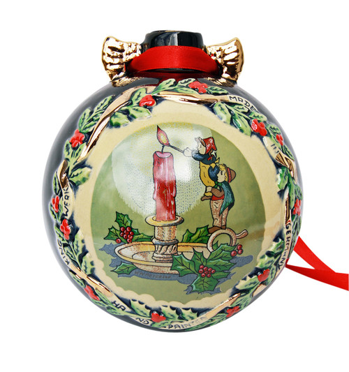 Christmas Candle and Santa Ceramic Large Christmas Ornament Decoration