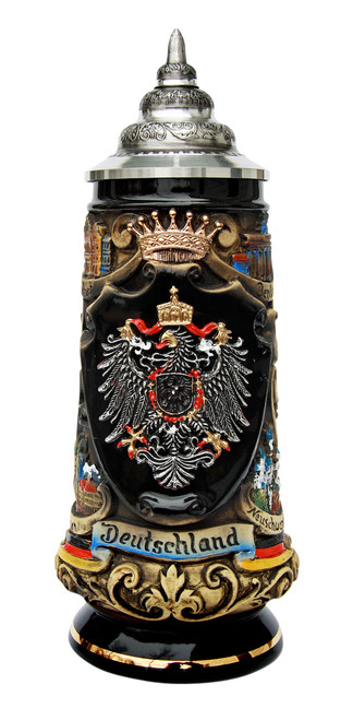 Deutschland Pewter Eagle Cities Beer Stein