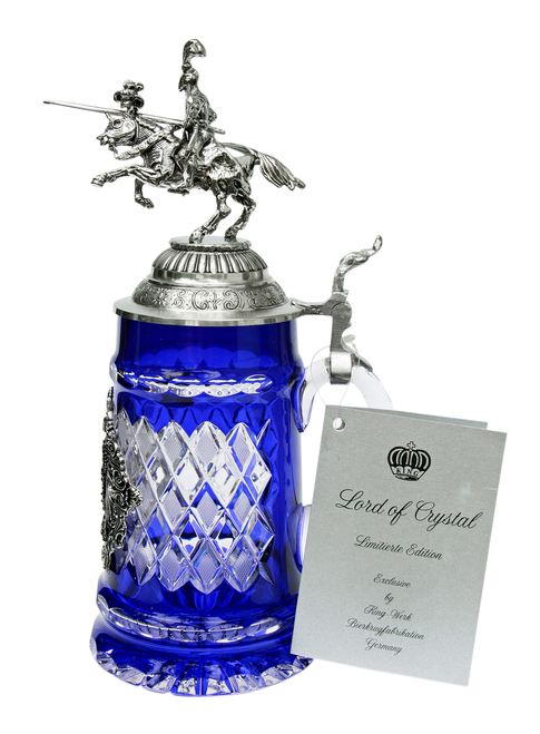 Lord of Crystal German Knight Beer Stein Blue