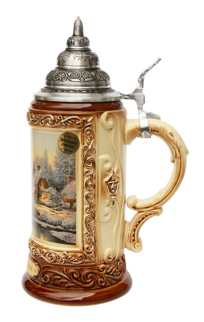 Traditional Christmas Beer Stein with Pewter Lid