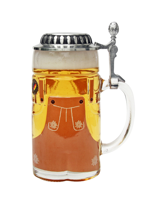 Lederhosen 1.5 liter glass beer mug holds well past a single bottle of beer