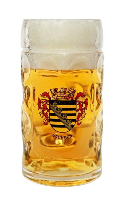 Traditional 0.5 Liter Oktoberfest Beer Mug with Sachsen Crest