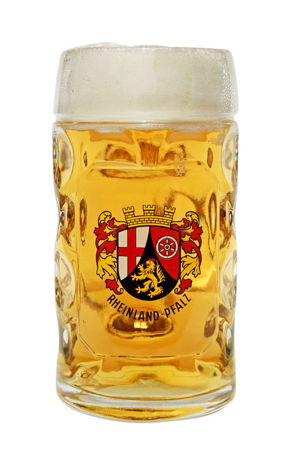 Authentic 0.5 Liter Rheinland Pfalz Oktoberfest Glass Beer Mug