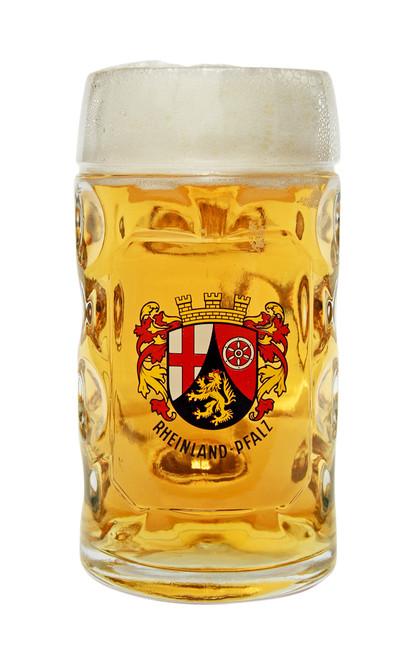 Authentic 0.5 Liter Rheinland Pfalz Oktoberfest Glass Beer Mug