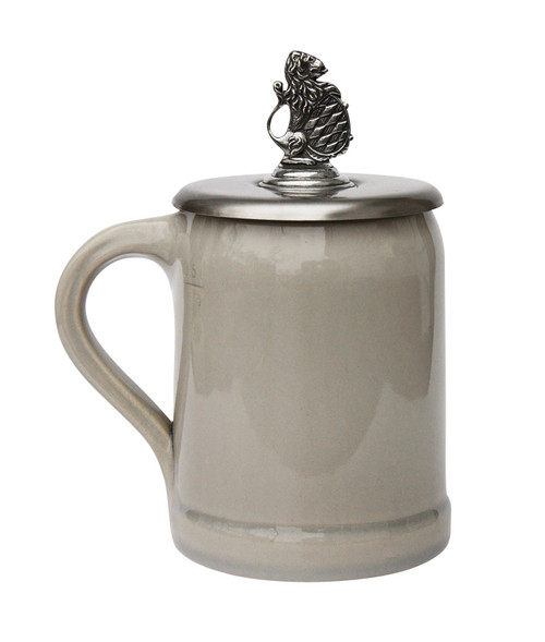 Pewter Bavarian Lion Crest Cover for 0.5 Liter Beer Mugs