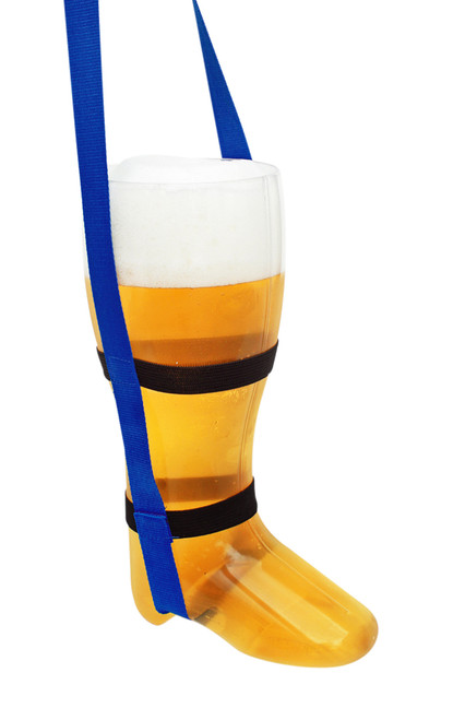 Plastic Beer Boot 24 Pack 1 Liter with Royal Blue Lanyards