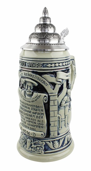 German Beer Purity Law 500 Year Anniversary Beer Stein Cobalt