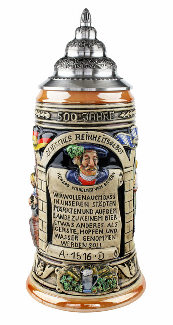 Ceramic beer stein with pewter lid celebrates the German 500 year purity law restricting beer ingredients to barley, hops, yeast and water