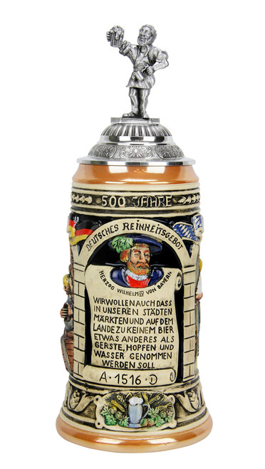 Reinheitsgebot German 1516 Beer Purity Law ceramic beer stein
