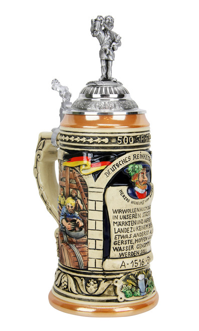 Handmade ceramic beer stein with pewter lid