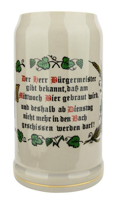 "German ""Purity Law"" Stoneware Beer Mug 1 Liter"