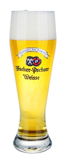 Authentic .5 Liter Hacker Pschorr Wheat Beer Glass with Beer