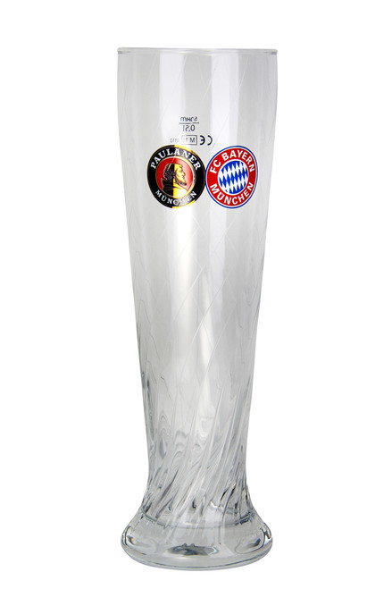 Paulaner FC Bayern Wheat Beer Glass 0.5 Liter