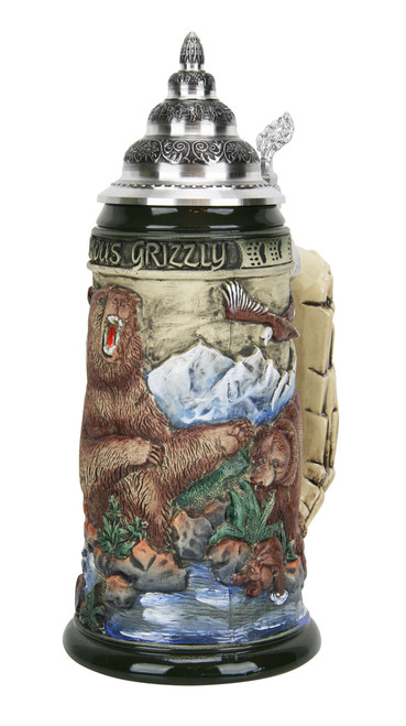Glorious Grizzly Bear Beer Stein Rustic