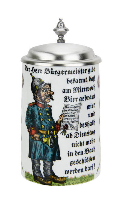 Reinheitsgebot collectible porcelain beer stein with lid