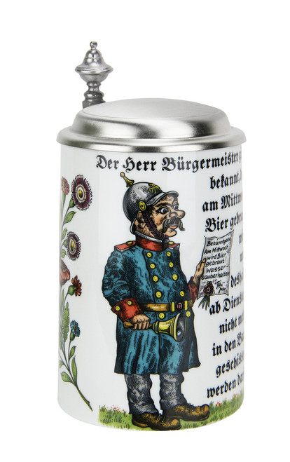 Porcelain beer stein depicting declaration of the 1516 German Purity Law