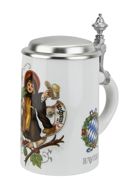 Bavarian Beer Stein with Pewter Lid