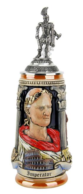Italian Emperor Imperator Caeser Beer Stein | Legionnaire Lid
