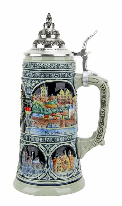 German Heritage National Anthem Beer Stein Cobalt