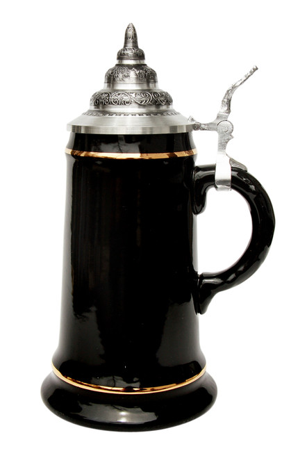 .5 Liter Smooth Black Glaze Beer Stein with 24K Gld Accents