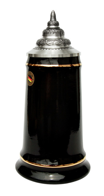 Black Glazed Beer Stein with 24K Gold Accents on Rims & Pewter Lid