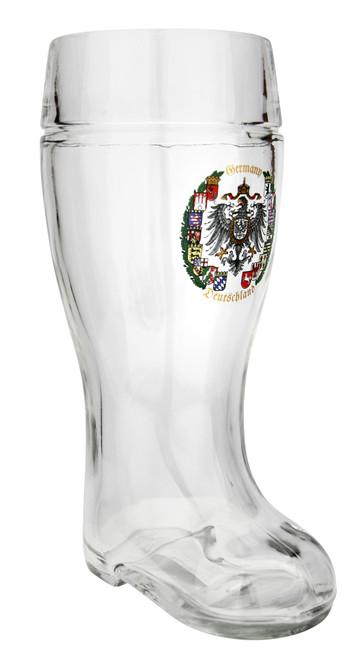 1 Liter Beer Boot with German Crest
