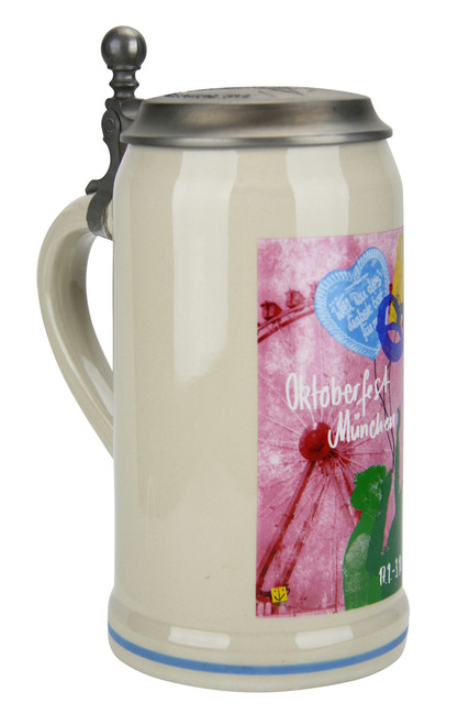 Official Oktoberfest Ceramic Beer Stein with Pewter Lid for Sale